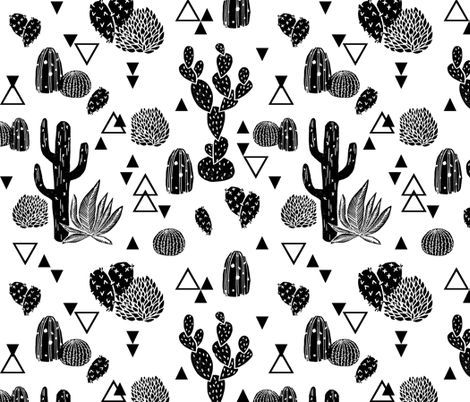 Cactus - Geo Triangles Black and White  by Andrea Lauren fabric by andrea_lauren on Spoonflower - custom fabric