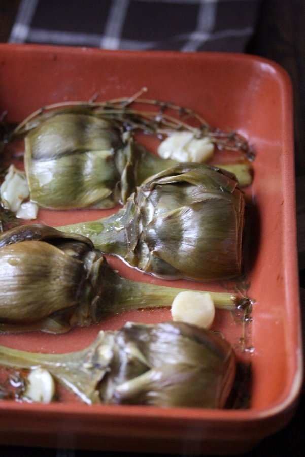 olive oil and thyme braised artichokes with garlic and thyme recipes ...
