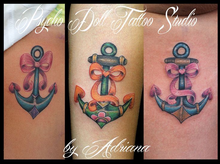 Anchors tattoo by adriana psycho doll tattoo studio for Jobs that allow piercings tattoos and colored hair