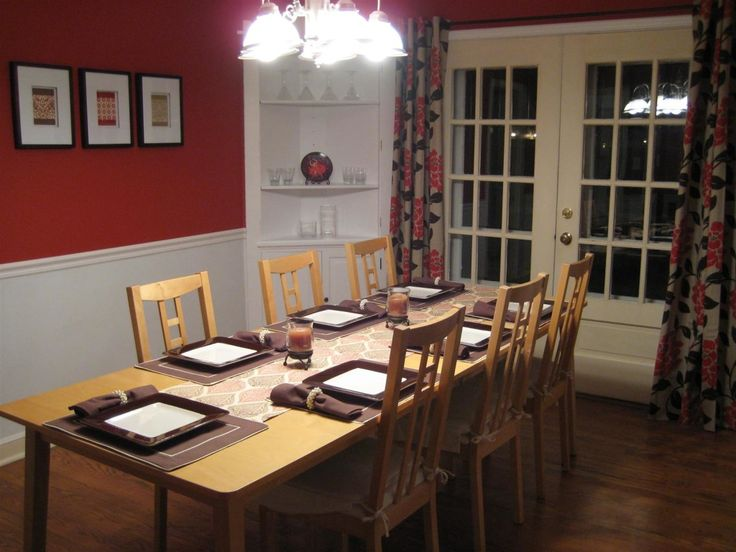 Red And White Colors For Dining Room Painting Ideas With Long Minimalist  Rectangle Shaped Wood Dining Part 98