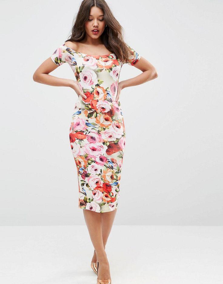 Nice Image of ASOS Short Sleeve Floral Bardot Off The Shoulder Midi Dress