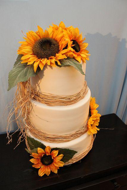 Sunflower Wedding Cake by lisafemmefondant, via Flickr