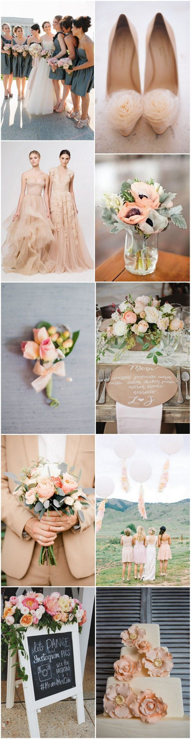Pretty as a Peach! Vintage Peach & Rustic Grey Wedding Colour Palette   weddingsonline