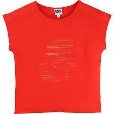Lurex Yarn Pattern Tee Shirt in Rouge Red