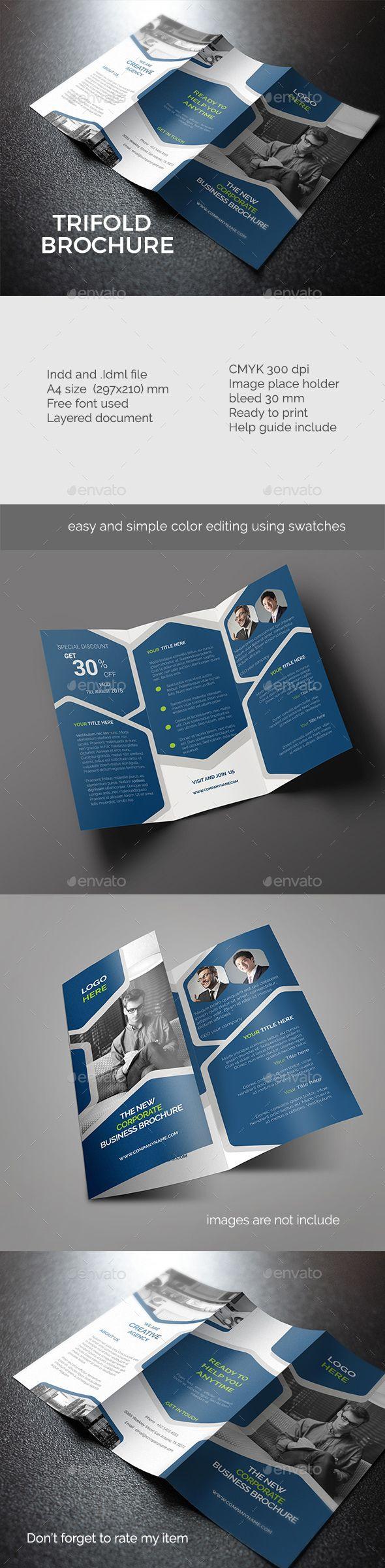 32 best tri fold brochures images on pinterest brochure for Trifold brochure indesign template