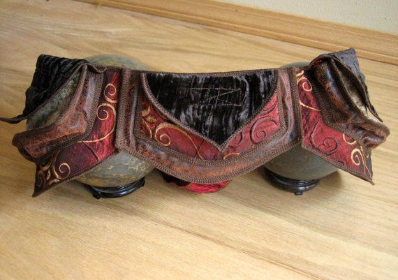 Red and Brown - Festival Pocket Belt - Utility belt - Steampunk Inspired