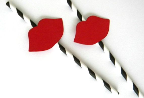 12 Bright Red Lips Party Straws  Black/White by thepartypenguin, $12.80
