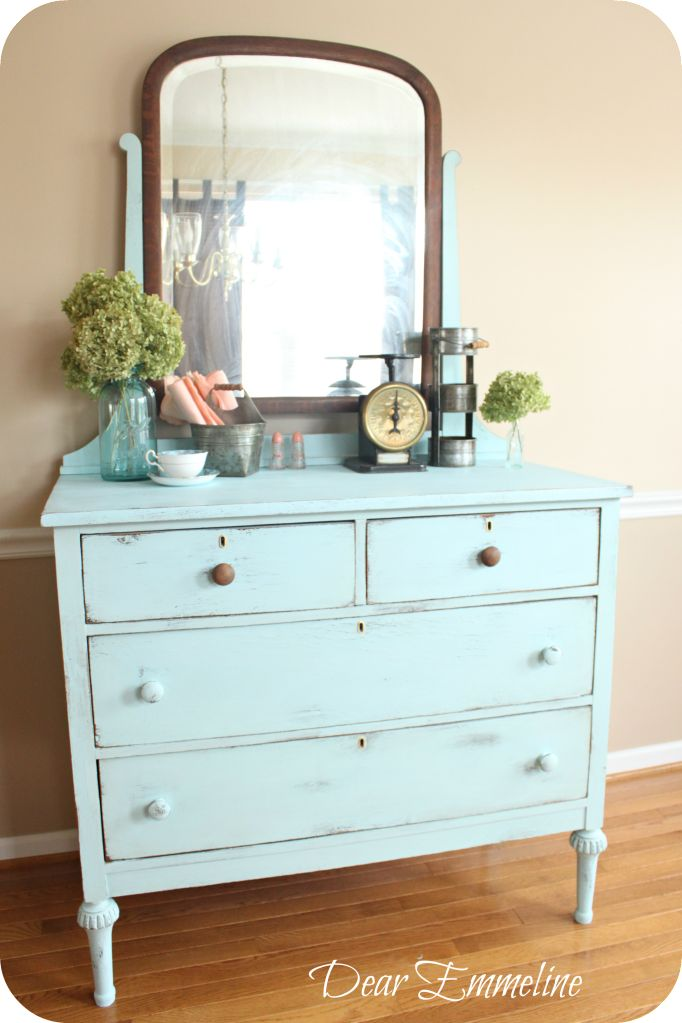 Exhibit A DIY Chalky Paint Finish Recipe Formula Plaster of Paris (I added  more) 2 cups paint Mix plaster and water until lum… Old Pickup Blue Dresser  ...