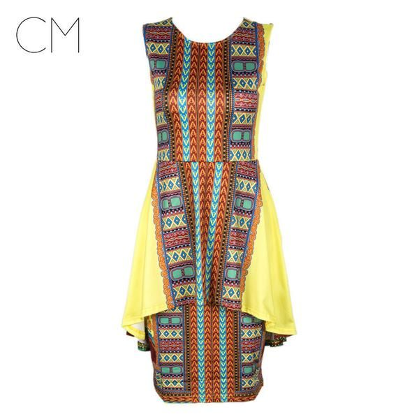 New Style Women Summer Dress Vintage Traditional African Tribal Print Dashiki Dress Sexy Yellow Party Dresses Tunique Femme