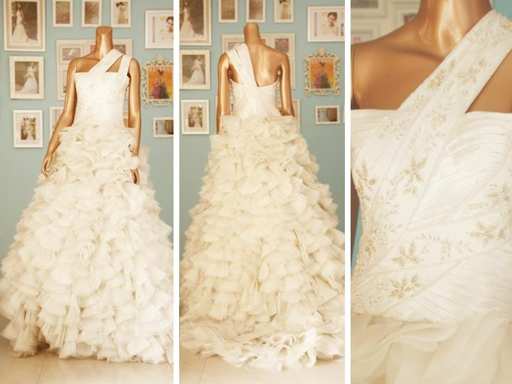 Ruffled wedding gown with beaded bodice.