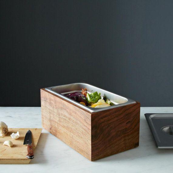 noaway countertop compost bin in walnut kitchen