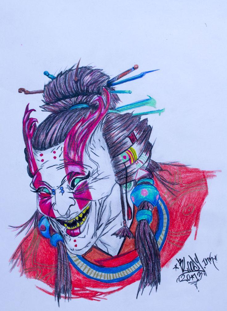 Demonio Oriental!! Ilustración hecha con lapices de color. 20x30cm