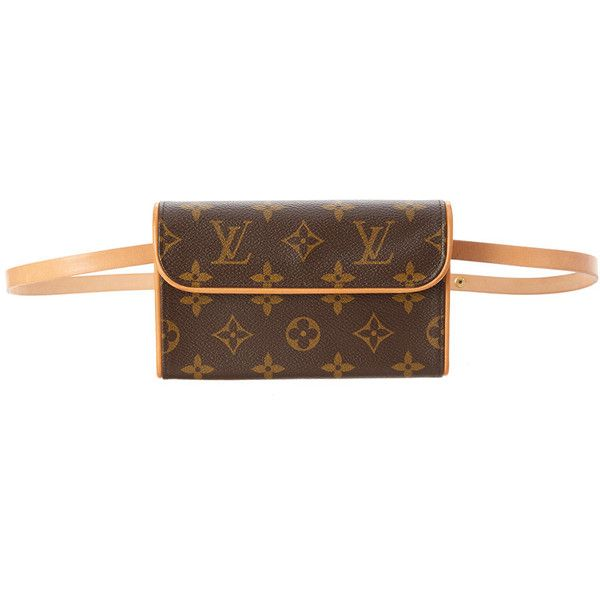 Louis Vuitton Monogram Canvas Pochette Florentine (1.770 RON) ❤ liked on Polyvore featuring bags, nocolor, monogram canvas bag, brown canvas bag, louis vuitton bags, pre owned bags and brown bag