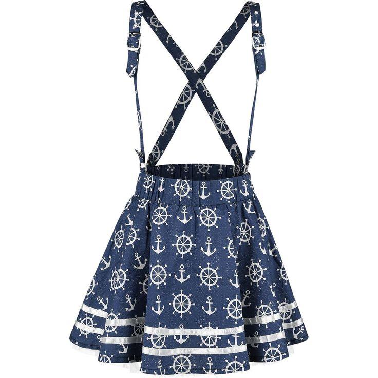 """- verstelbare bretels - elastische tailleband - onderrok - kort gesneden  De """"Alexis Skirt"""" van Rockabella heeft een uiterst coole rockabilly-stijl. Het blauw-witte kledingstuk is versierd met talloze witte ankertjes en stuurwielen. Het beste aan deze minirok zijn toch wel de verstelbare bretels, die het kledingstuk een stijlvol uiterlijk geven."""