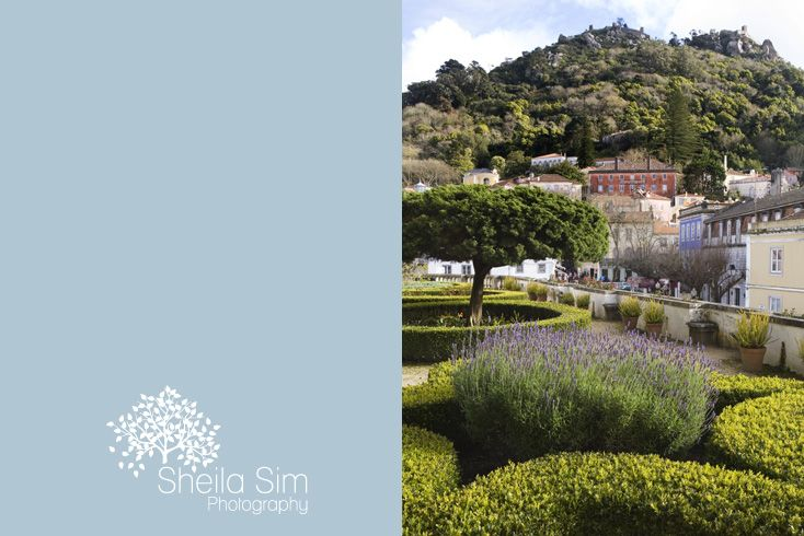 The garden of the national palace at Sintra, near Lisbon, looking up towards the Moorish castle