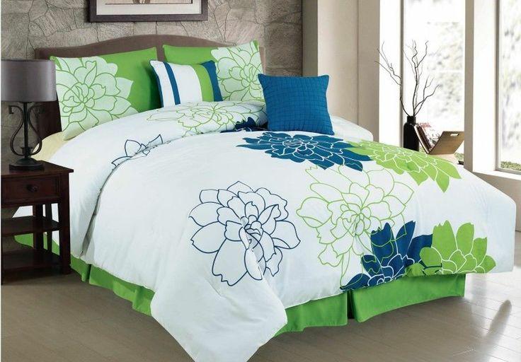 new home plus comfort 6pc white blue green bedding set bed in a bag queen bedroom. Black Bedroom Furniture Sets. Home Design Ideas
