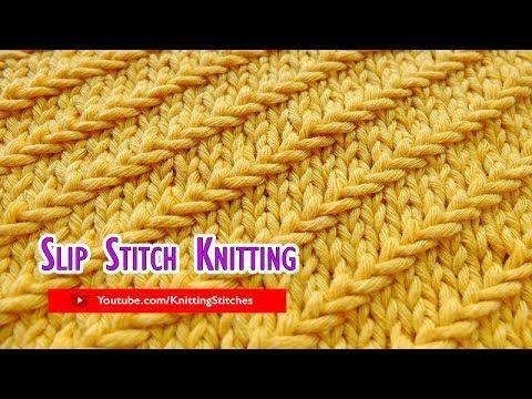 Slip Stitch Knitting #5: Right Diagonal st pattern