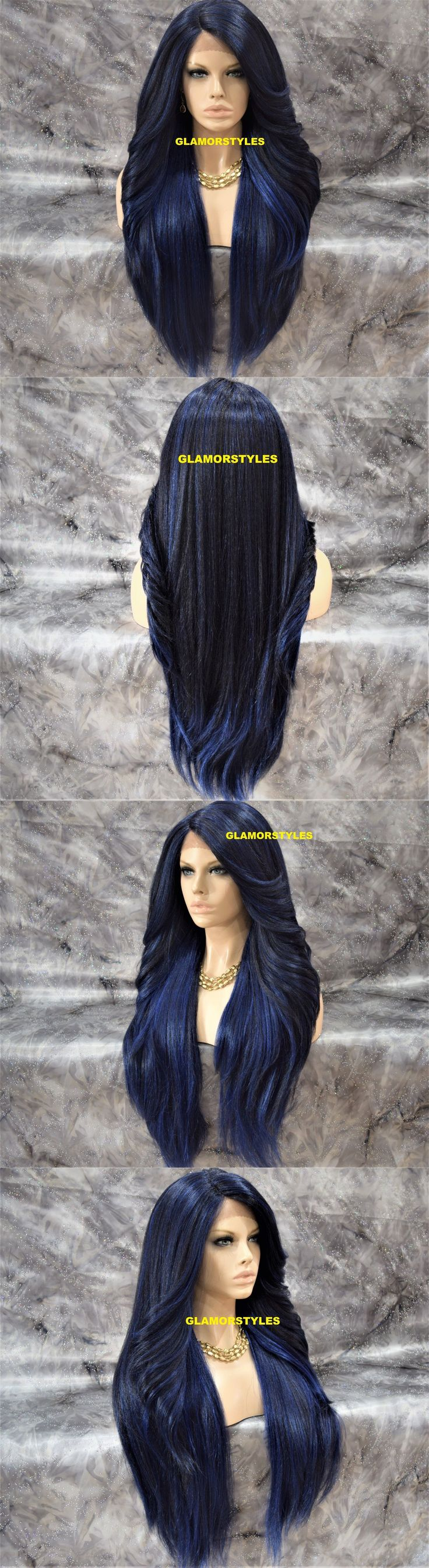 Wigs and Hairpieces: 38 Long Straight Layered Black Blue Mix Full Lace Front Wig Heat Ok Hair Piece -> BUY IT NOW ONLY: $47.36 on eBay!