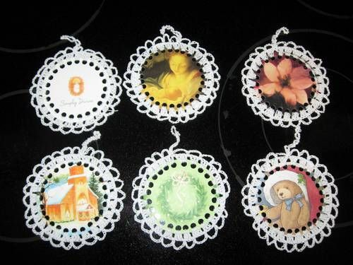 Crochet around the edge of a recycled Christmas card. Christmas ornaments ~Craftster.org