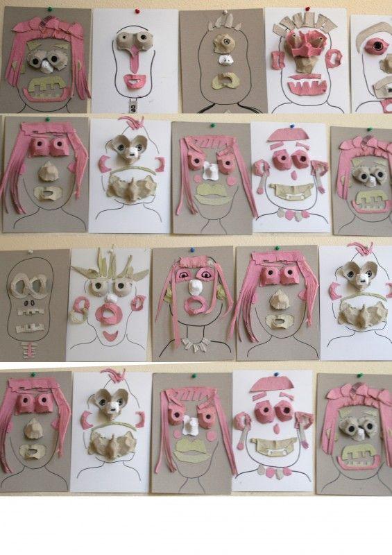 Egg carton faces {from Recyclart}