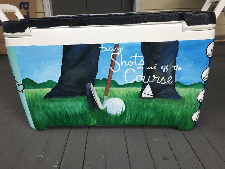 Taking shots on and off the course gold the painted fraternity cooler