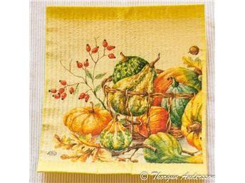 Disktrasa, diskduk 1st, dekorerade för hand, Höst, löv och pumpor