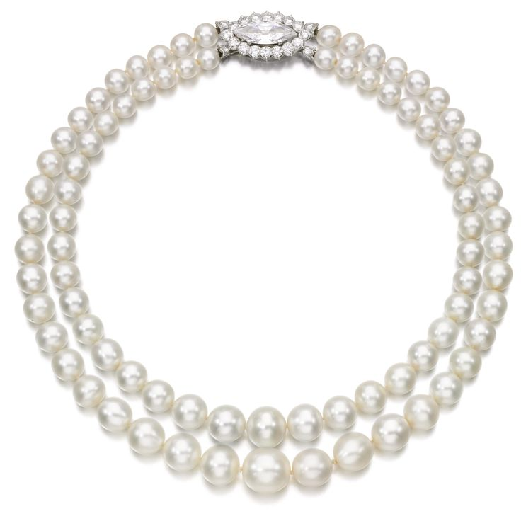 Natural pearl and diamond necklace | lot | Sotheby's. 7,003,519 USD. Composed of two graduated strands of seventy-eight natural pearls measuring from approximately 7.45 to 13.95mm, on a clasp set with a marquise-shaped diamond weighing 4.39 carats, framed with brilliant-cut diamonds, clasp signed Cartier, French assay and maker's marks, case stamped Cartier.