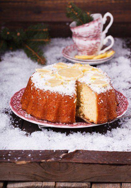 Лимонно-йогуртовый кекс с сиропом