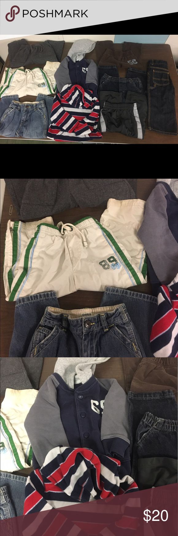 Lot of boys clothing all size 2T 7 pairs of pants, 4 are sweatpants/windpants style, 3 are jeans.  Also included are a light button up jacket with hood and a fleece pullover with hood.   All the clothes are stain free and no holes.  Name brand items, Carter/Oshkosh, etc.    smoke free home. Other