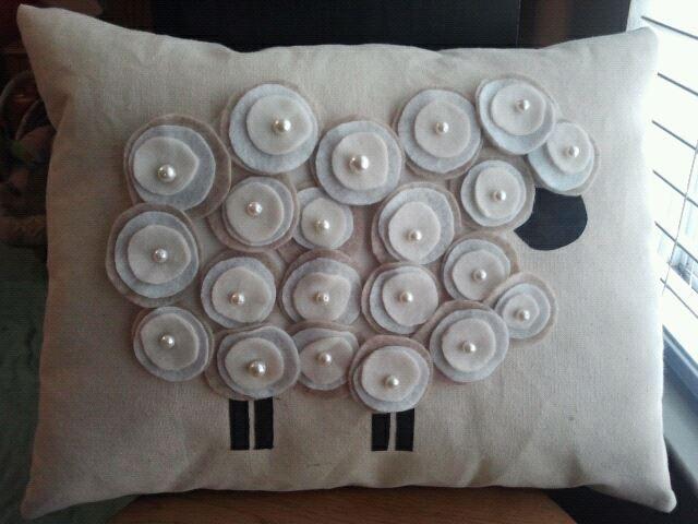 sheep pillow. how adorable! @Holly Hanshew Ollila