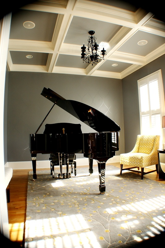 Painted tray ceiling.: Living Rooms, Piano Rooms Decor, The Piano, Grand Piano Rooms, Grey Wall, Rooms Colors, Music Rooms, Yellow Chairs,  Grand