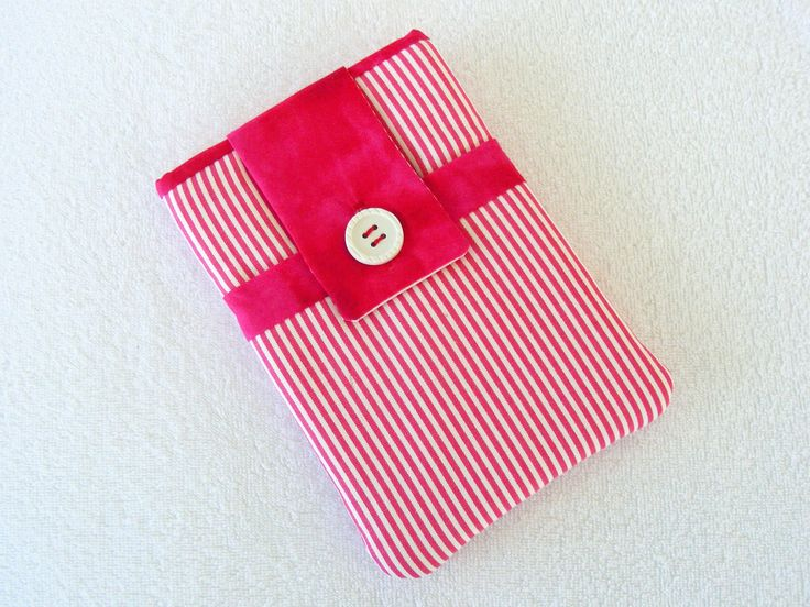 """Kindle Fire Cover, IPad Mini Cover, IPad Mini Case, Nook Cover, Kindle Fire Case, IPad Mini Cover, Pink and White Striped, 7 1/2""""X 5"""" by LindaLeasBoutique on Etsy"""