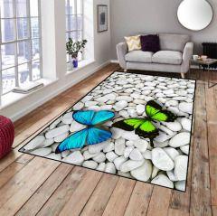 Mavi Yeşil Kelebekli Dekoratif Modern Salon Genç Odası Halısı
