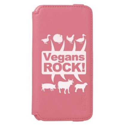 Vegans ROCK!!! (wht) iPhone 6/6s Wallet Case - animal gift ideas animals and pets diy customize