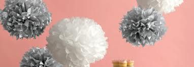 60th anniversary party ideas- white and silver paper pompoms
