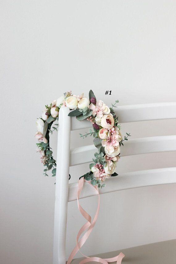 Blush Pink White Eucalyptus Floral Crown Floral Halo Wedding Hair Wreath Bra …