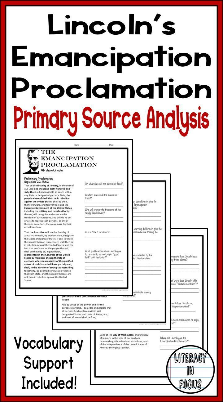 small resolution of Abraham Lincoln's Emancipation Proclamation primary source analysis. Common  C…   Primary and secondary sources