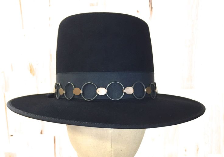 black beaver hat with loose telescope bash and vintage metal hatband by hatWRKS on Etsy https://www.etsy.com/listing/236898498/black-beaver-hat-with-loose-telescope