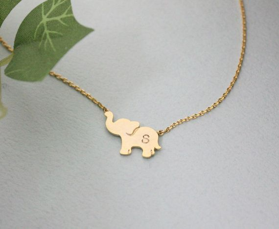 Elephant Jewelry, Personalized initial elephant necklace, initial jewelry    Gold and Silver Plating over Brass finding and chain    LENGTH: 16  PENDANT