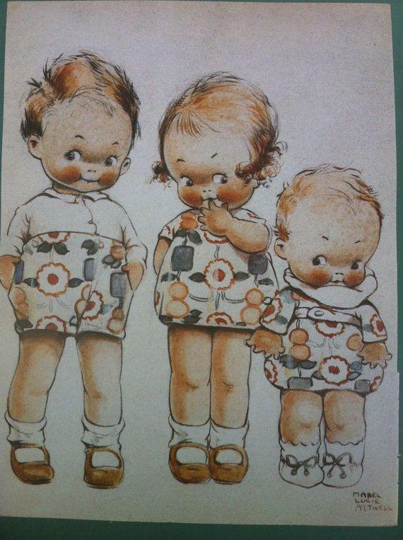 Vintage Drie Kewpies Children,s art print by Mabel Lucie Attwell.~........................lb xxx.