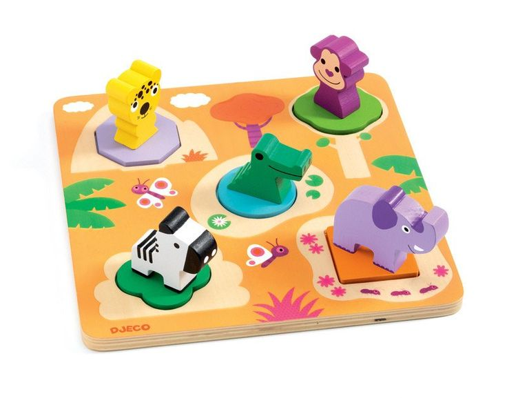 WOW a 3D puzzle for the smaller child with great colours and jungle animals. DJECO  Puzzle Wooden 3D five-piece 3D puzzle with familiar animals presented in a pretty coloured box for easy storage. This puzzle makes a great present for toddlers. #toys2learn #preschool #earlylearning #puzzle #motorskills #djeco