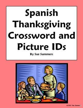 spanish thanksgiving crossword picture ids and vocabulary list spanish spanish vocabulary. Black Bedroom Furniture Sets. Home Design Ideas