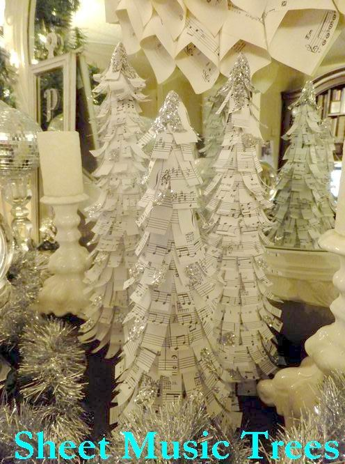 sheet music tree- I love this, but think it would be awesome using classic children's book pages in b or sepia.