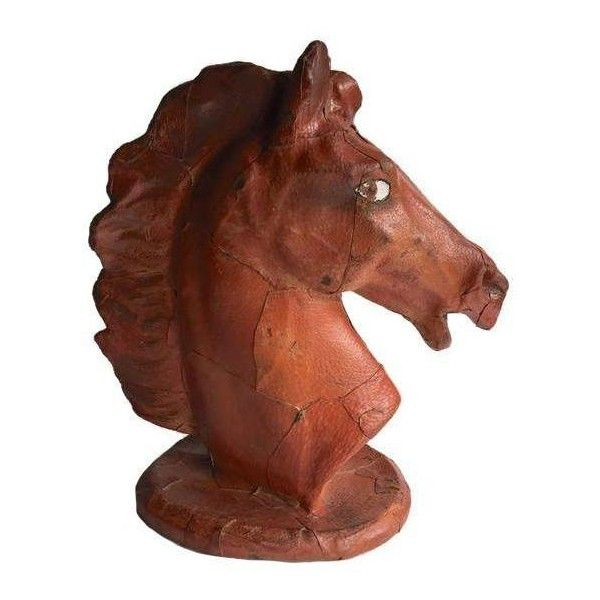 Vintage Leather Horse Head Statue (690 AUD) ❤ liked on Polyvore featuring home, home decor, decorative objects, vintage home decor, leather home decor, horse head statue and vintage home accessories