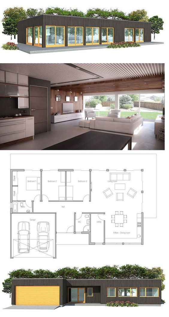 Contemporary Home Plan, three bedrooms, minimalist design. Floor Plan from ConceptHome.com: