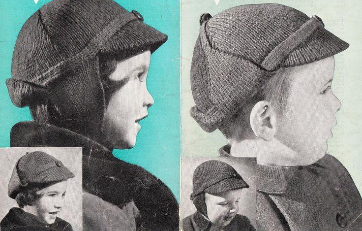 Crochet Deerstalker Hat Pattern : Childrens Deerstalker hat knitting pattern age 2-5- pdf ...