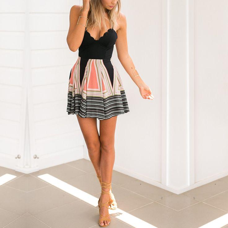 Simplee Padded boho print pleated summer dress Women v neck high waist  beach dresses Sexy sleeveless laciness dress купить на AliExpress