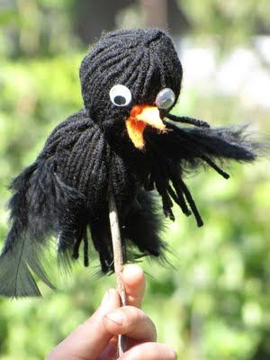 """Crow Puppet.  Clever!  There are so many stories and Readers Theater scripts with crows in them (e.g., Aesop's Fables).  This would work great!  (Remember our Script Buffet Club script """"Waddles the Grateful Groundhog"""" has a crow in it, too.  This is a fun idea for Waddles' crow friend, Soot.)  See: www.ReadersTheaterAllYear.com for trustworthy RT scripts."""