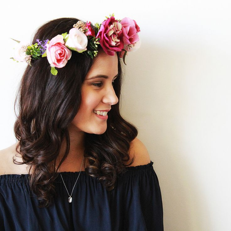 Sofia is a recent addition to the Aggie   Lola Flower Crown Collection 2017. Created with a striking combination of gold, deep purple, red and pink hues, let your inner beauty sparkle in this crown. With the versatility for a full made to measure crown or adjustable ribbon, and the option to add a detachable veil, please take the time to review the options below and select your favourite! For those wanting a full made to measure crown, please include your headsize in the notes s...