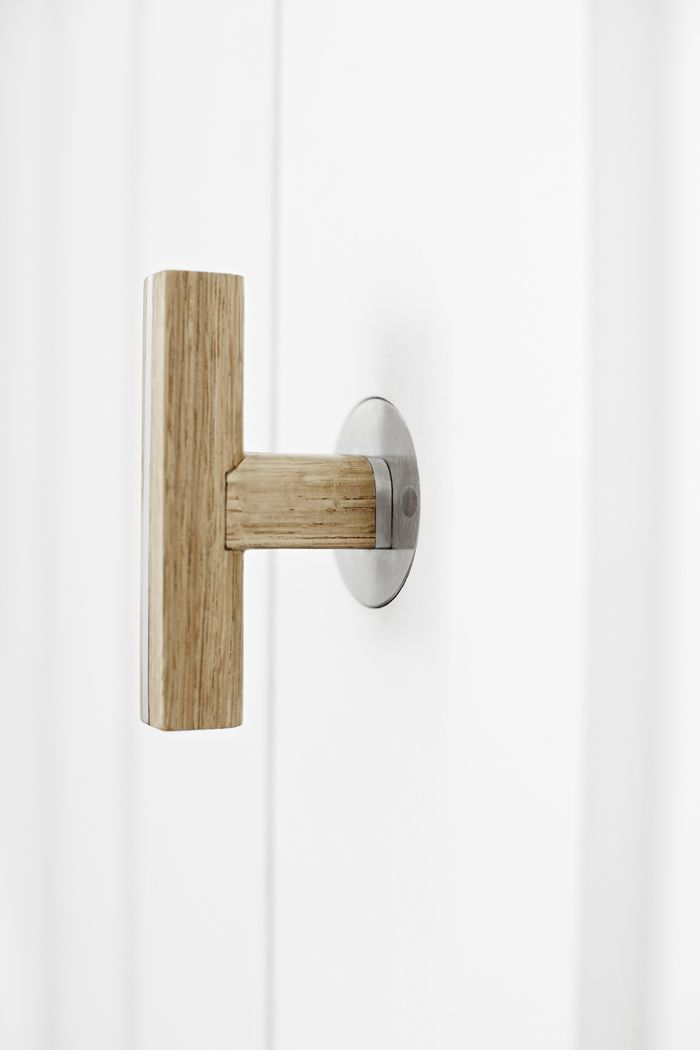 Two - Piet Boon by FORMANI HARDWARE - Solid sprung lever handle in natural oak and satin stainless steel